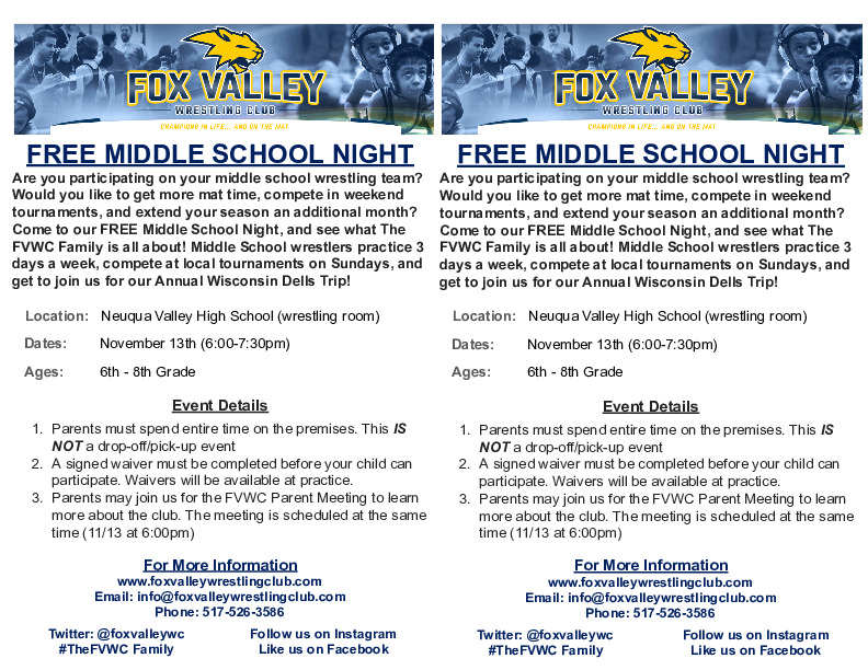 FREE Middle School Wrestling Night