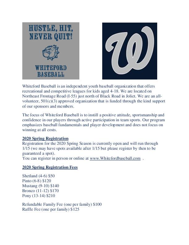 2020 Whiteford Spring Baseball Registration
