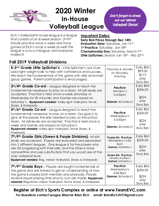 EVC In-House Volleyball Winter Registration Open!