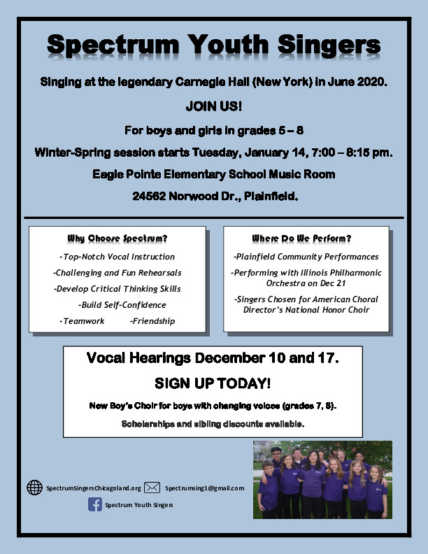 Spectrum Youth Singers Vocal Hearings