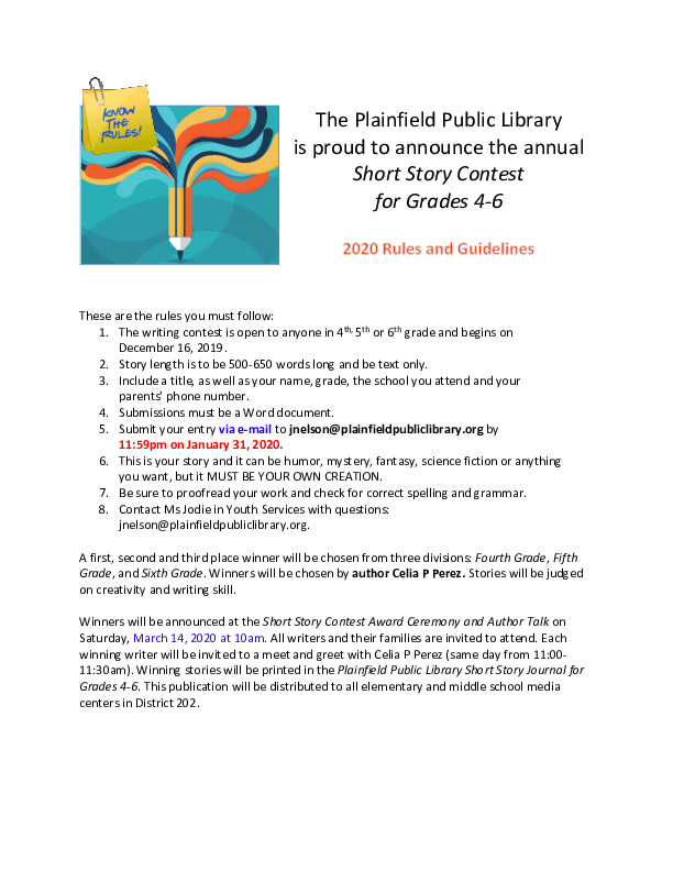 Plainfield Public Library Short Story Contest for Grades 4,5 & 6