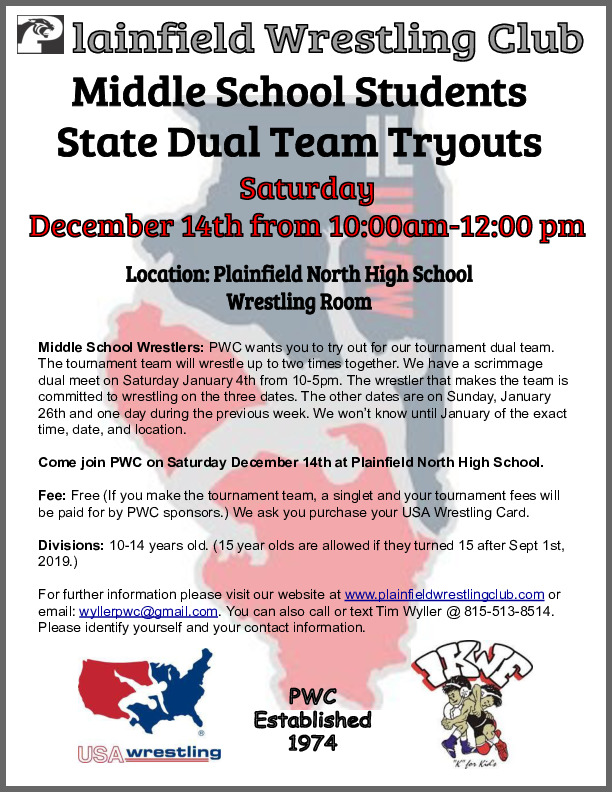 Grade 5th-8th Wrestling Tryouts-Plainfield Wrestling Club