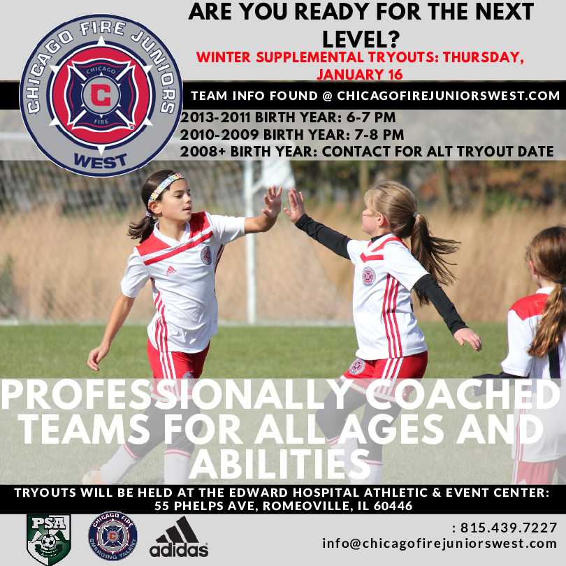 Chicago Fire Juniors West Soccer Club Winter Tryouts