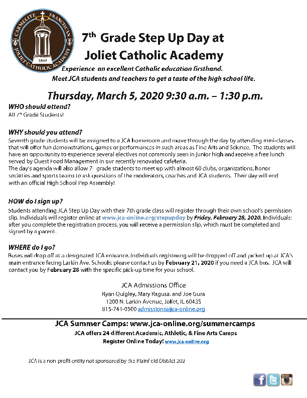 Joliet Catholic Academy Step Up Day for 7th Graders