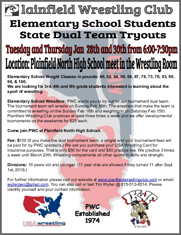 3rd-4th-5th grade athletes interested in wrestling (email: wyllerpwc@gmail.com if interested)
