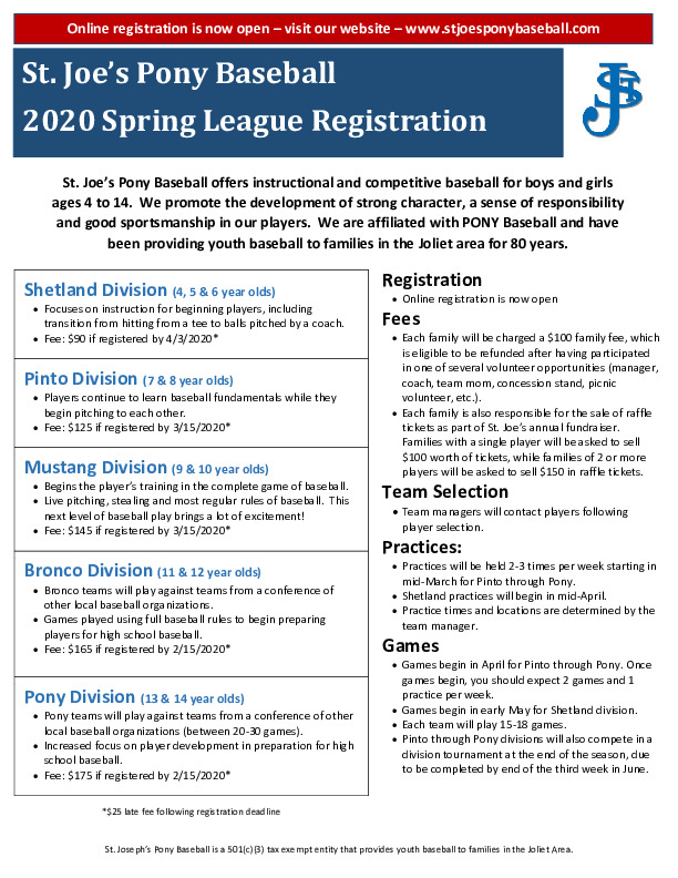 St. Joe's Pony Baseball Registration Open