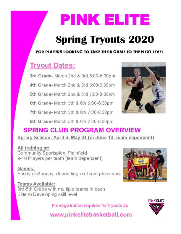PINK ELITE Club Team Spring Tryouts 2020
