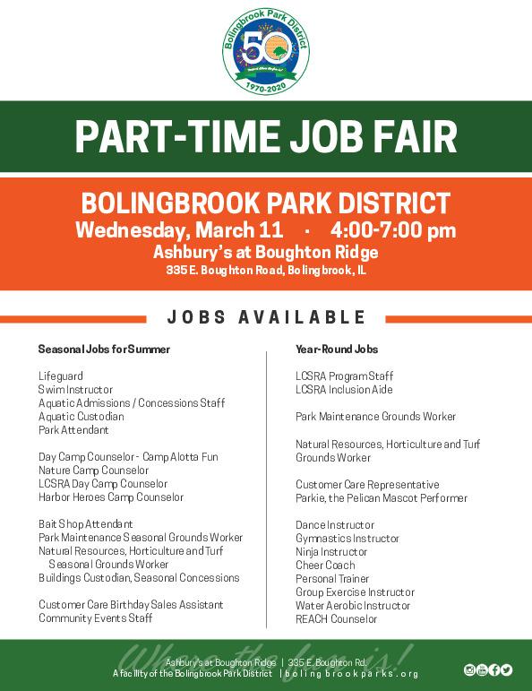 Bolingbrook Park District's Part-Time Employee Job Fair