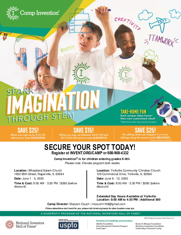 Camp Invention in Naperville and Yorkville