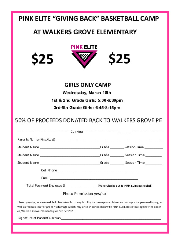 Walkers Grove Giving Back Camp Spring 2020
