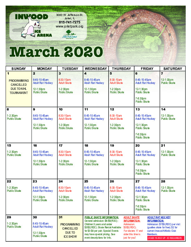 March 2020 Ice Arena Calendar