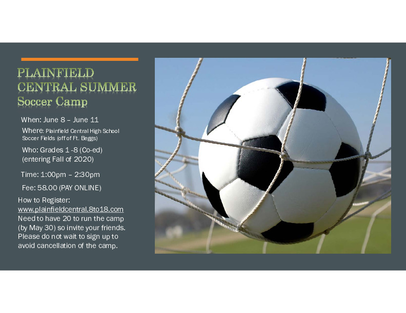 Summer CO-ed Soccer Camp -Plainfield Central