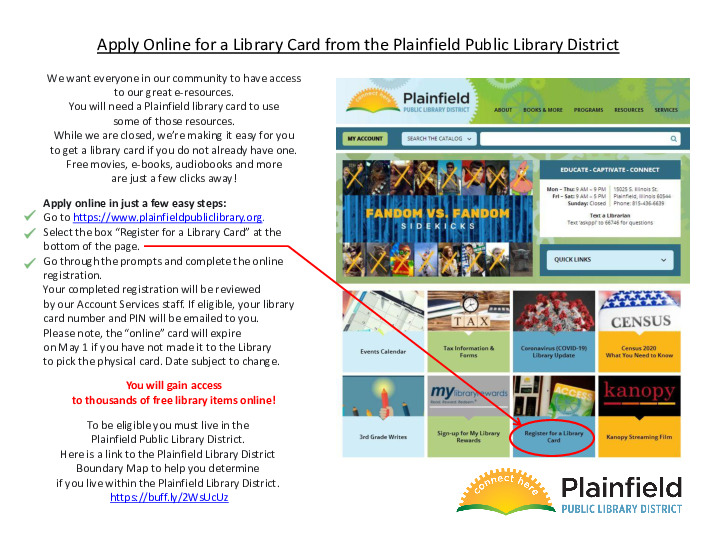 Apply Online for a Library Card from the Plainfield Public Library District