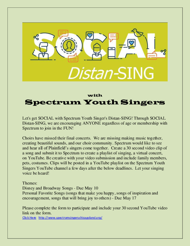 SOCIAL Distan-SING with Spectrum Youth Singers, Plainfield