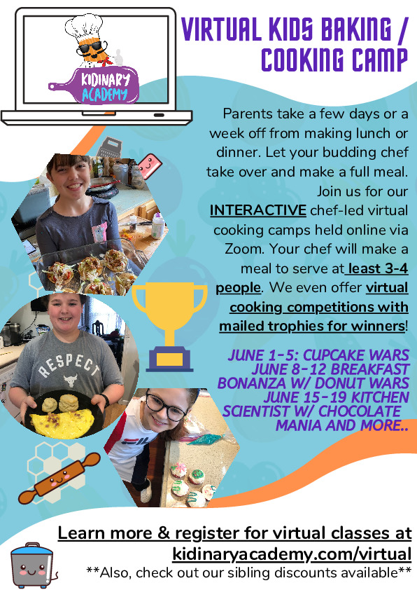 Virtual Baking and Cooking Camp - Kidinary Cooking Academy