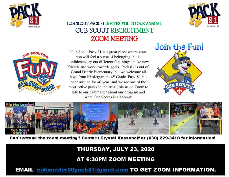 Cub Scout Pack 81 Recruitment Plainfield