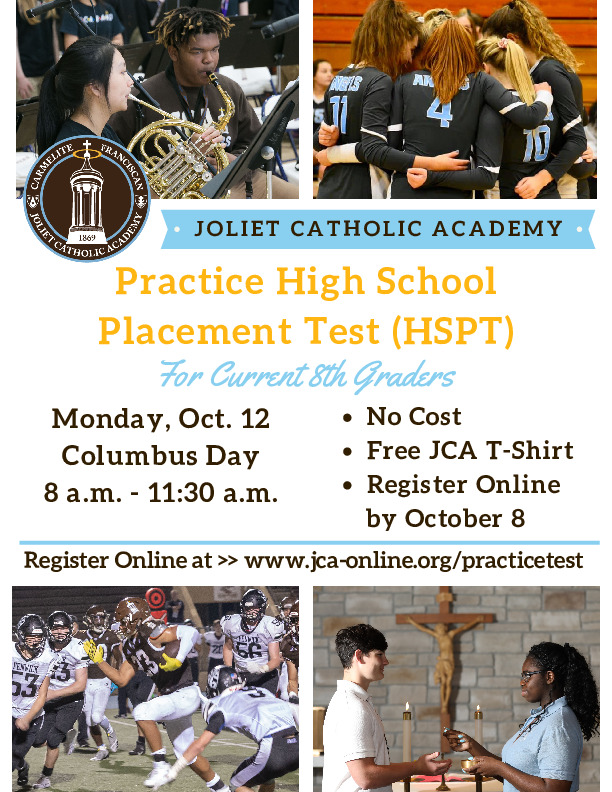 Joliet Catholic Academy to host practice High School Placement Test on October 12 (Columbus Day)