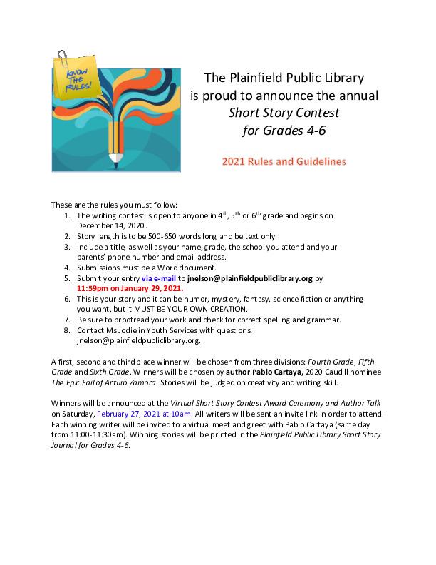 Plainfield Public Library Short Story Contest