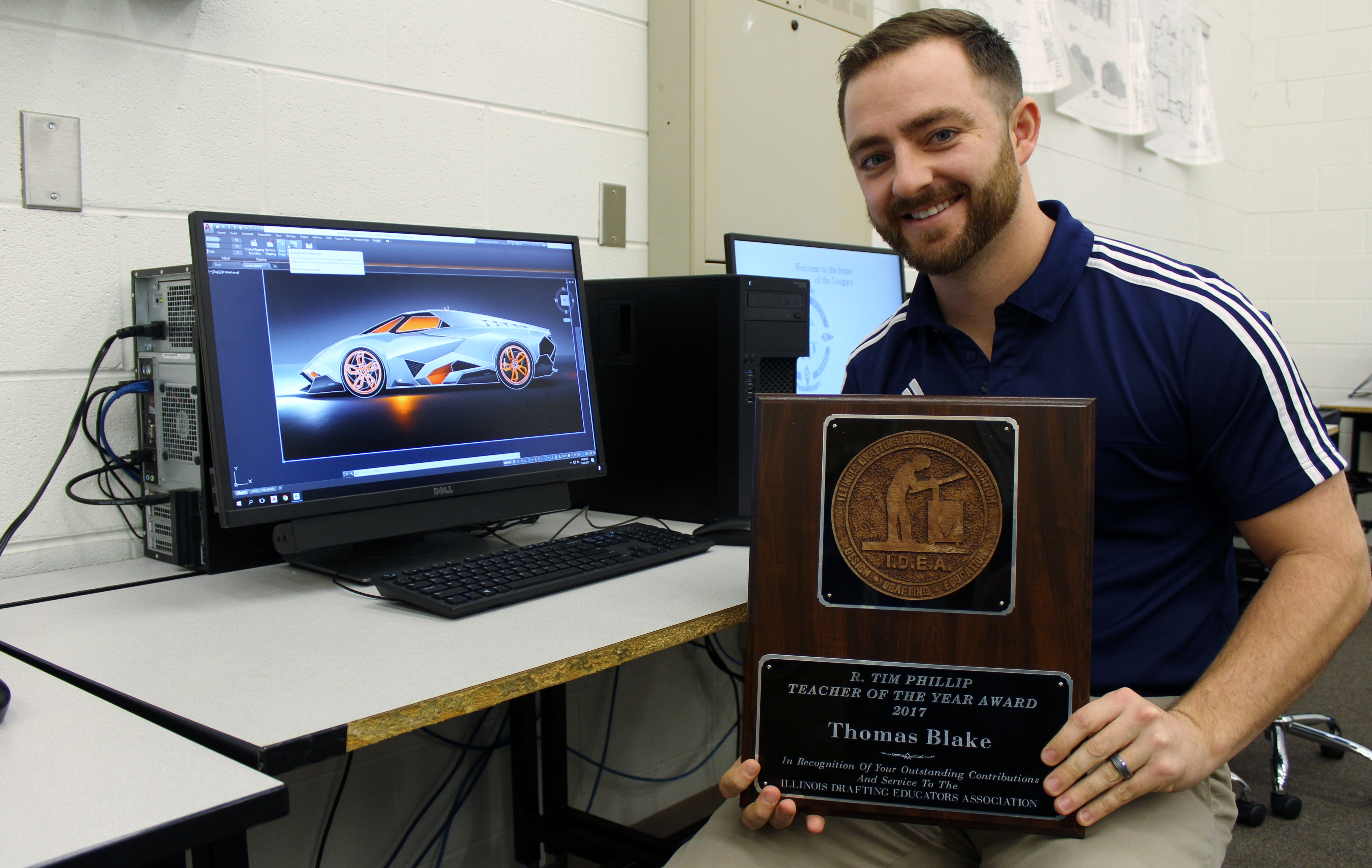 Plainfield South High School Industrial Technology teacher Thomas Blake is the Illinois Design Educators Association's 2017 Drafting Teacher of the Year. Blake has helped grow student interest in the computer aided drafting program at PSHS in his almost five years there.