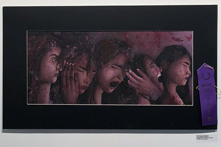 """PSHS senior Samaah Khan won Best of Show for her painting, """"A Progression of Pain"""""""