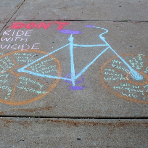 Chalk art draws attention to suicide awareness, 09.2017