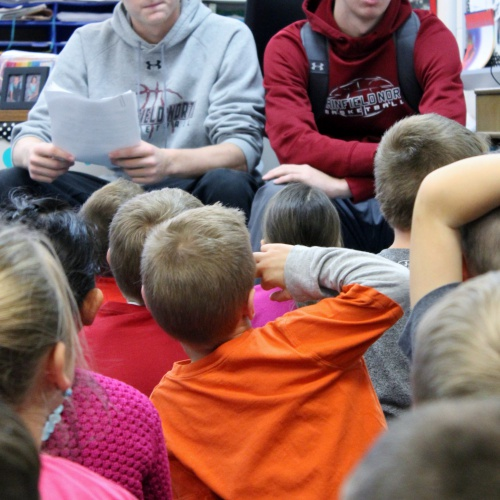 Athletes promote Tiger Reading Club at Red House elementary schools, 11.15.2017