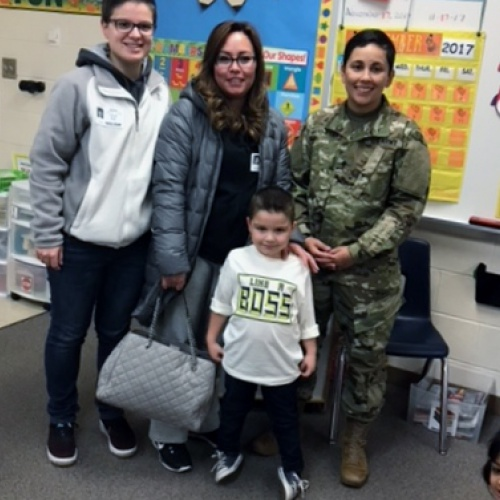 Military aunt surprises kindergartner with visit, 11.17.2017