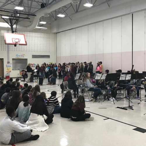 JFK choir, band visit to 5th graders, 01.09.2018