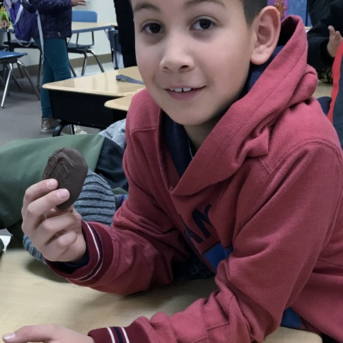Third graders learn about properties of rocks through candy, January 2018