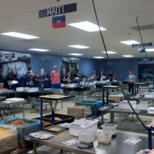 Staff pack food for Feed My Starving Children, 03.02.2018