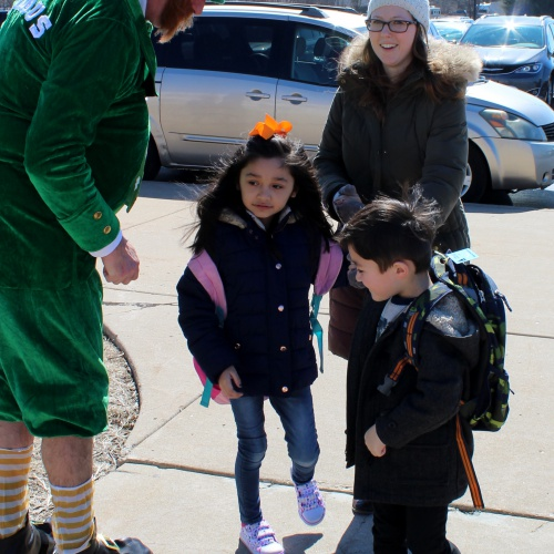 Seamus the leprechaun greets students, 03.16.2018