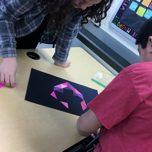 5th graders make hearts with congruent triangles, 02.2018