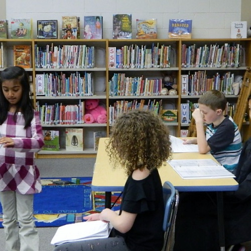 Fourth grade honors students host mock trials for fairy tale characters, 04.11.2018