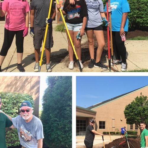 Volunteers, staff spruce up school's landscape, 08.03.2018