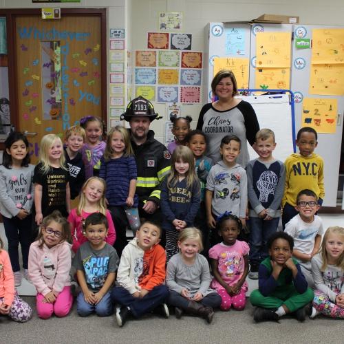 Kindergarten Fireman Monfre visit
