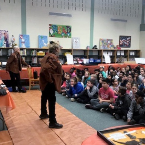 Fifth graders learn about raptors from the Northern Illinois Raptors group, 12.13.2018