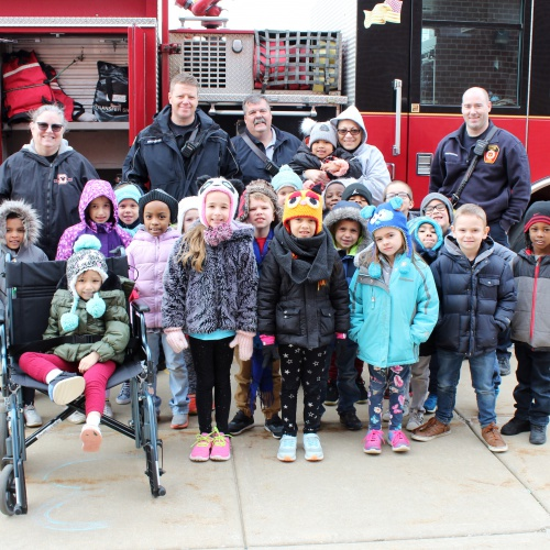 Lockport firefighters visit kindergartners, 02.28.2019