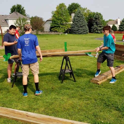 Eagle Scout builds Gaga Ball pit for Walker's Grove, 2019