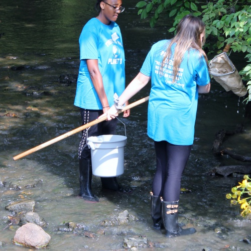 AP environmental science students study river at Hammel Woods, 09.20.2019