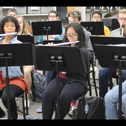 Wind Ensemble plays song for composer via video chat, 10.10.2019