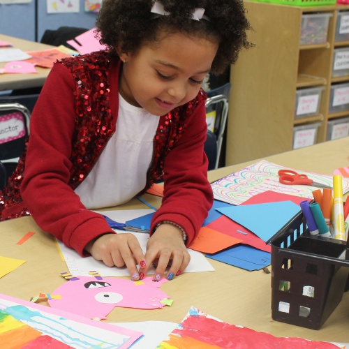 First grade art class completes shapes unit with
