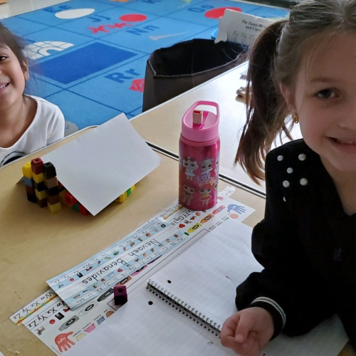 Kindergartners create shade structures