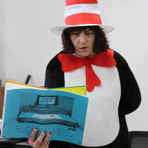Cat in the Hat visits first graders for Dr. Seuss' birthday