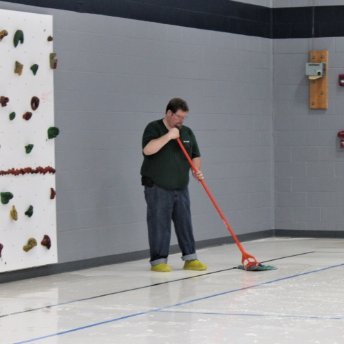 Summer Construction: Removing old floor finish in the multipurpose room