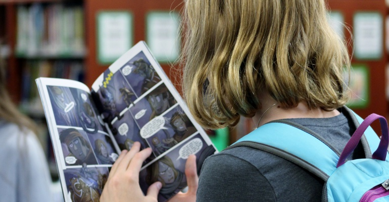 Students check out new graphic novels, Indian Trail Middle School