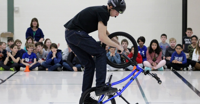 Anti-bullying assembly with BMX biking champion, Central Elementary