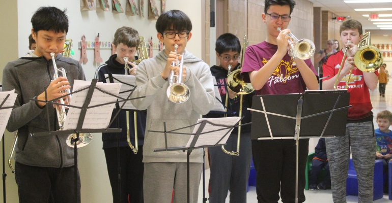John F. Kennedy MS band visits Bonnie McBeth Learning Center