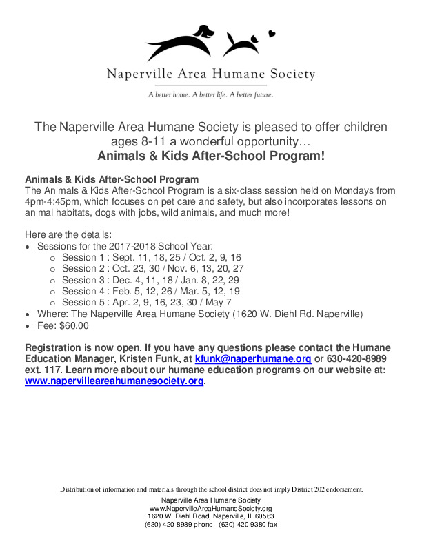 Animals and Kids After-School Program at Naperville Area Humane Society