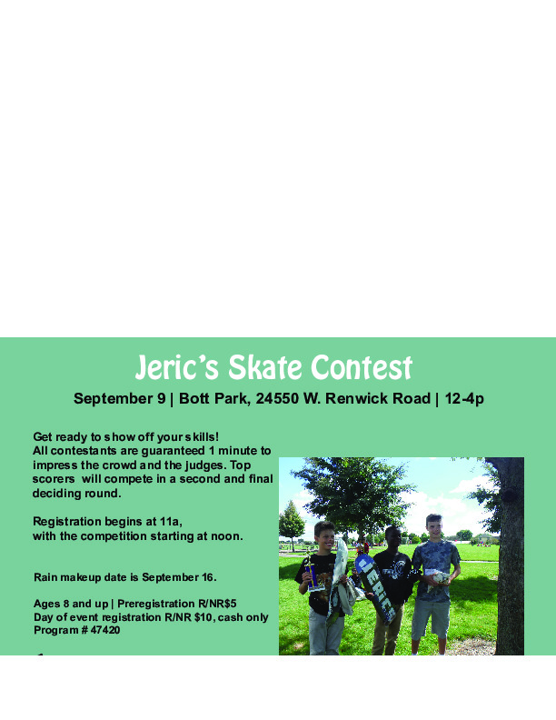 Jeric's Skate Contest at the Plainfield Park District