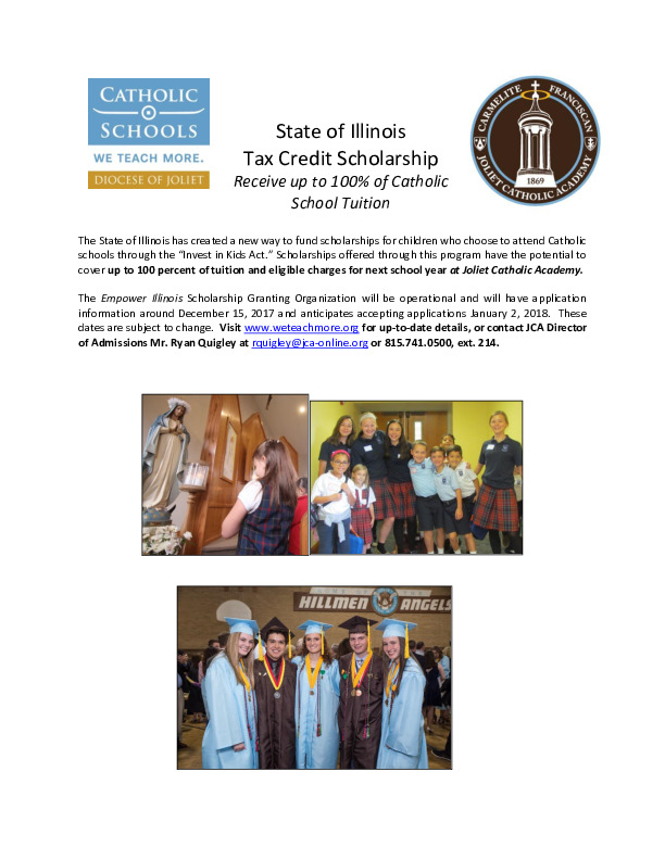 Joliet Catholic Academy IL Tax Credit Scholarship Program